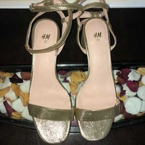H&M Gold Heeled Sandals Sz 8